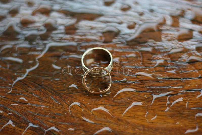 Wedding rings on wet wood royalty free stock photo