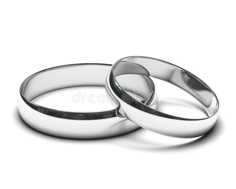 Wedding rings. On a white background royalty free stock photography