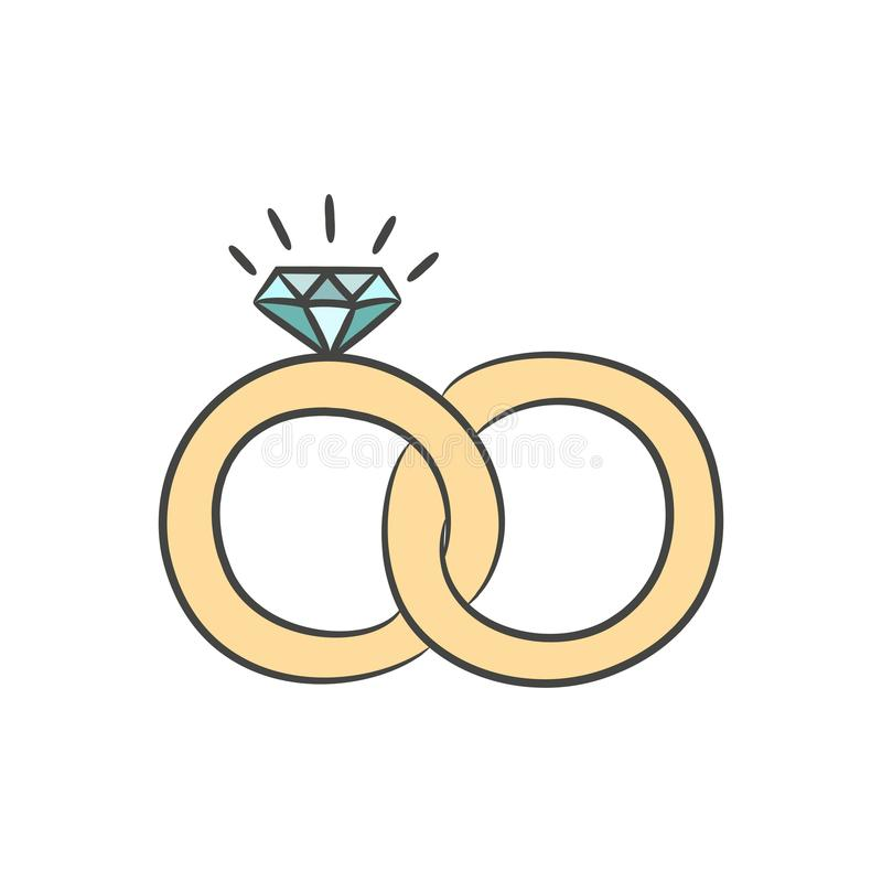 Wedding rings on the white background for your design. royalty free illustration