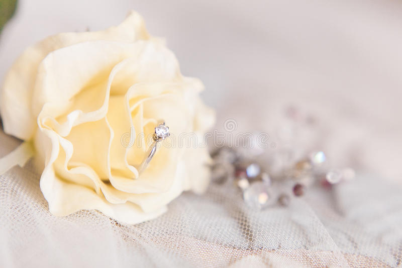 Wedding rings of white gold and angage ring royalty free stock photography