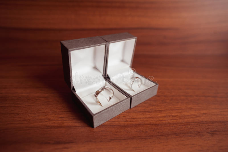 Wedding rings white gold in boxes stock photography