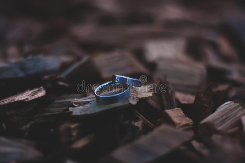 Wedding rings on wooden chops stock photos