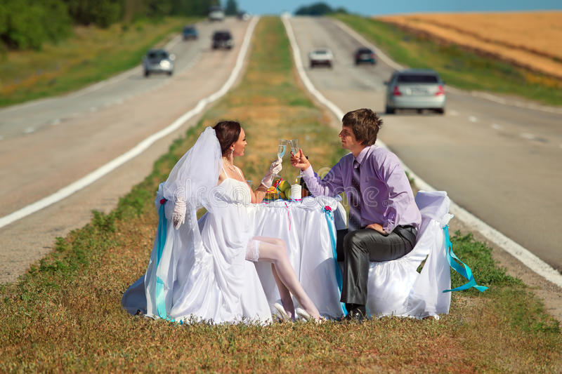 Download Wedding on the road stock image. Image of husband, dining - 25730871