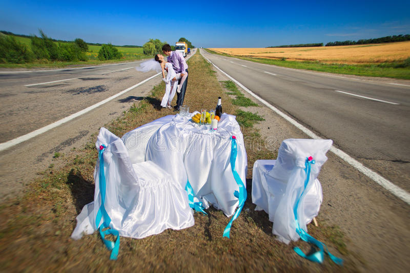 Wedding on the road stock photo