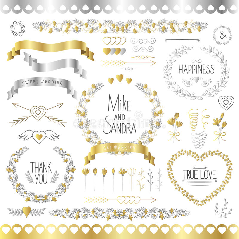 Wedding romantic collection with labels, ribbons, hearts, flowers, arrows, wreaths, laurel and birds. Graphic set in vector illustration