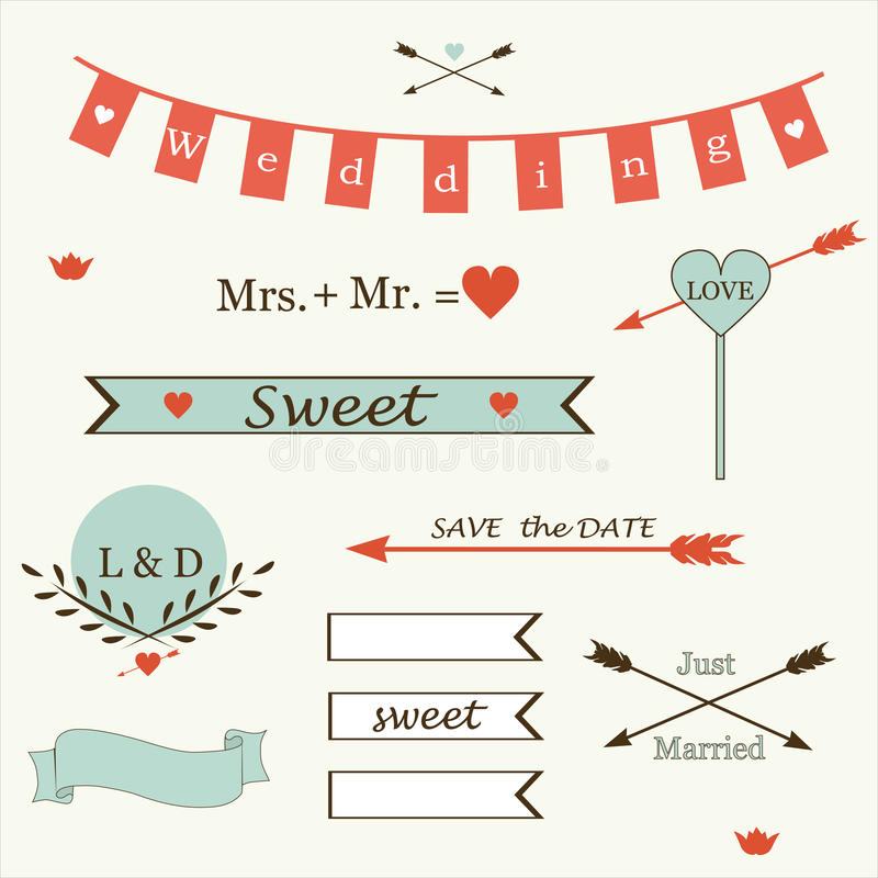Wedding romantic collection of labels, ribbons, hearts, flowers, arrows, wreaths of laurel vector. stock illustration