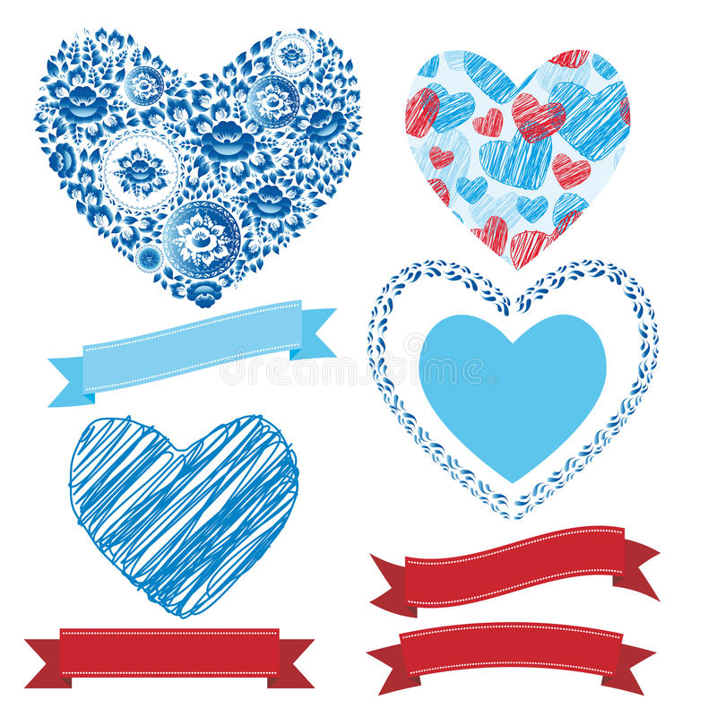 Wedding romantic collection ribbons, hearts, flowers. Graphic set royalty free illustration
