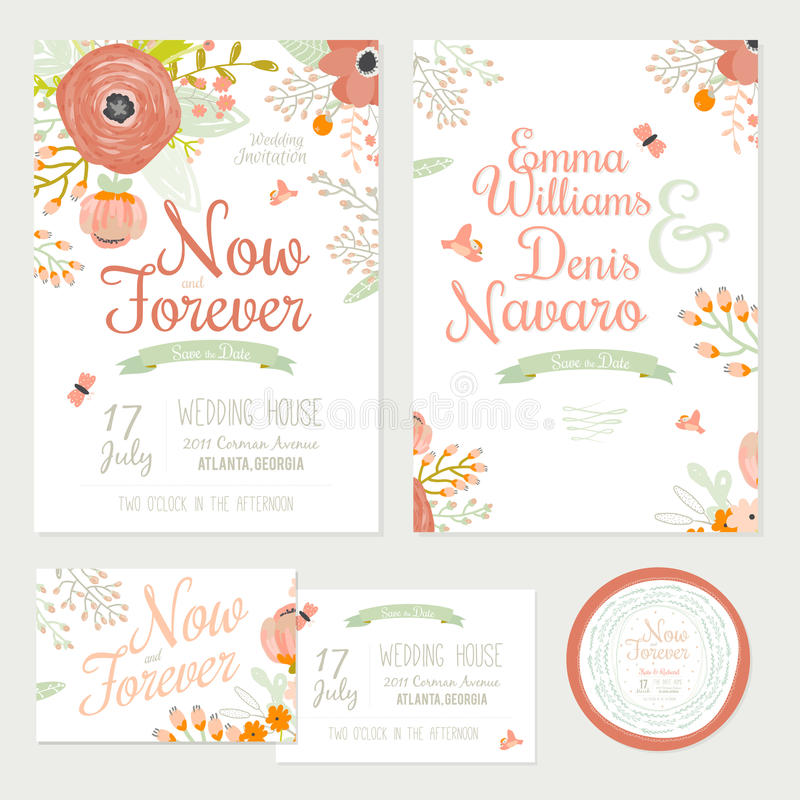 Save The Date Wedding Floral Ornament Wedding Floral: Wedding Romantic Floral Save The Date Invitations Stock