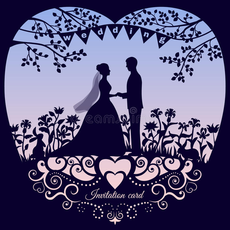 Wedding romantic invitation card with silhouette bride and groom stock illustration