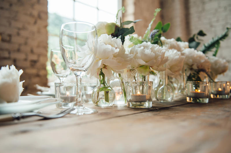 Wedding room decorated loft style with a table and accessories stock download wedding room decorated loft style with a table and accessories stock photo image of junglespirit Image collections
