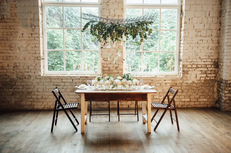 Wedding room decorated loft style with a table and accessories stock download wedding room decorated loft style with a table and accessories stock image image of junglespirit Image collections