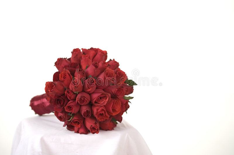 Wedding Rose. Wedding red roses with white background royalty free stock images