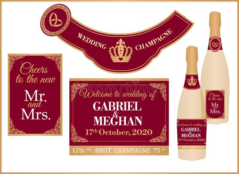 Wedding royal champagne set of labels on full and mini bottle. royalty free stock photos