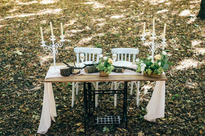 Wedding rustic decor in the woods royalty free stock photography