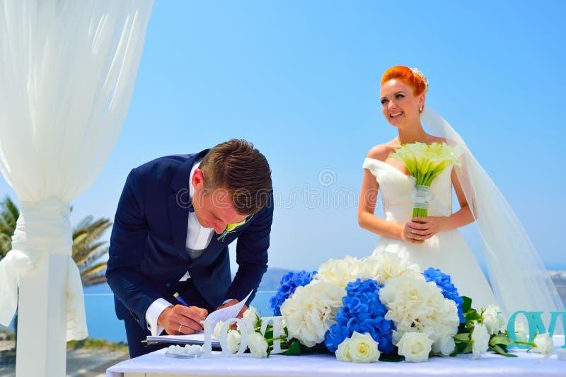 Wedding on Santorini royalty free stock images