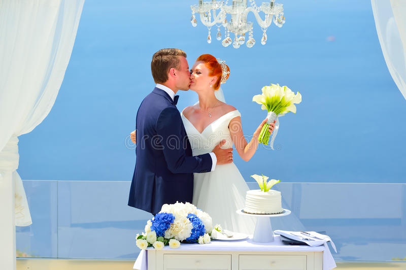 Wedding on Santorini stock photo
