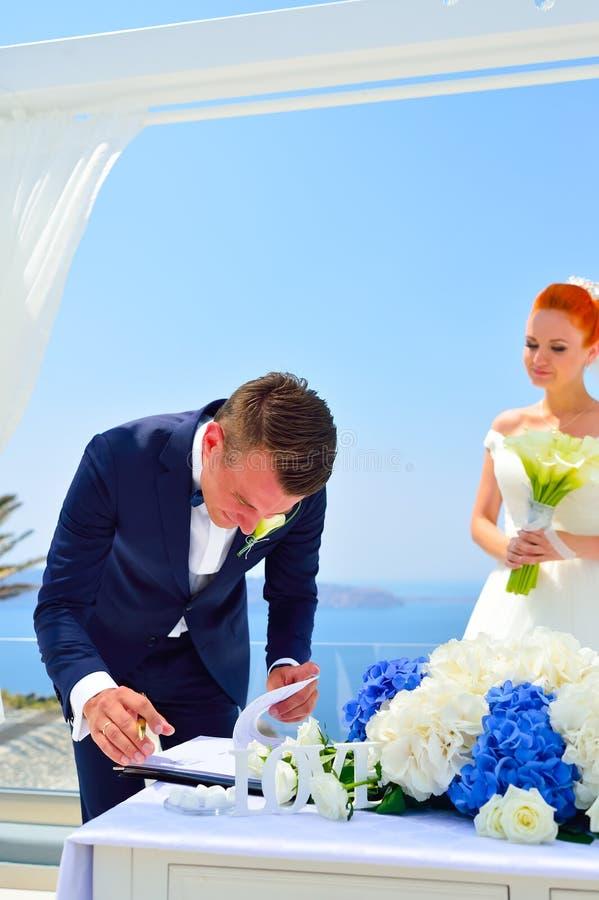 Wedding on Santorini stock images