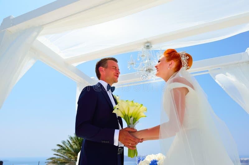 Wedding on Santorini royalty free stock photo