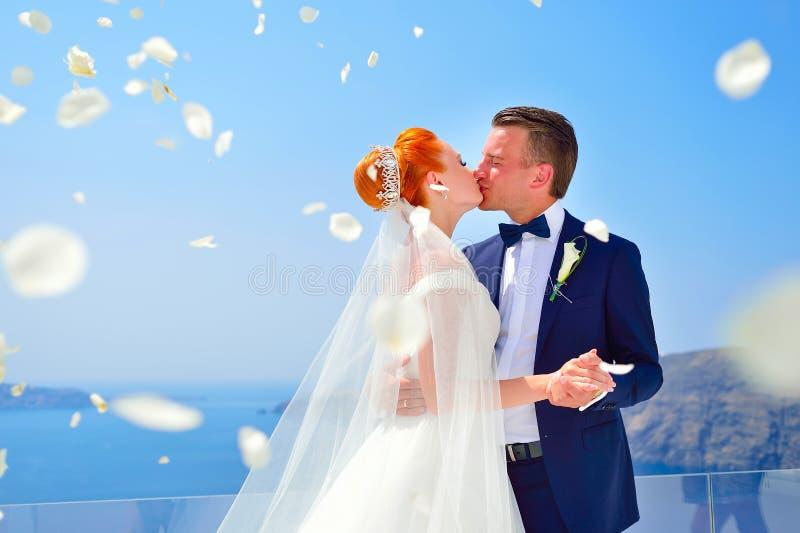 Wedding on Santorini royalty free stock photography