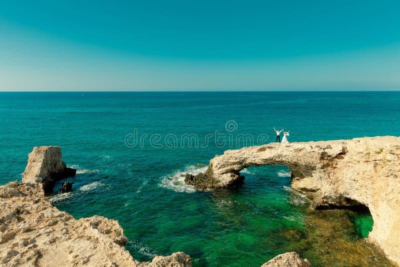 Wedding on the sea background stock photo