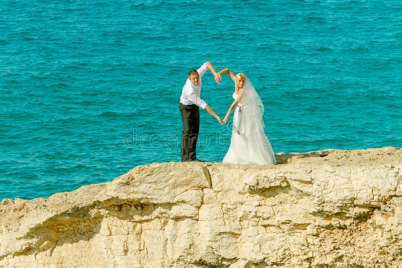 Wedding on the sea background stock images