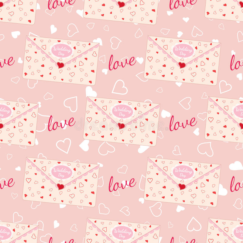 Wedding seamless pattern with letter decorated with lace and texture of hearts stock illustration