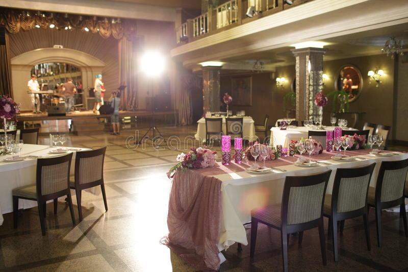 Download Wedding Served Decorated Tables Stock Photo   Image: 48131556