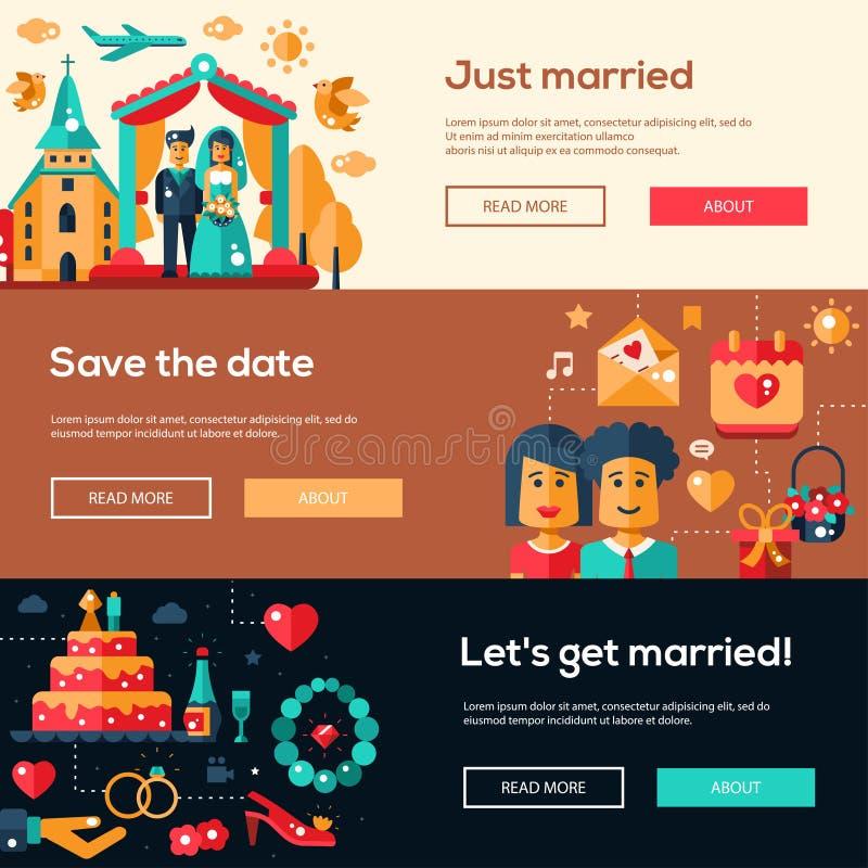 Wedding services website header banner, headers set stock illustration