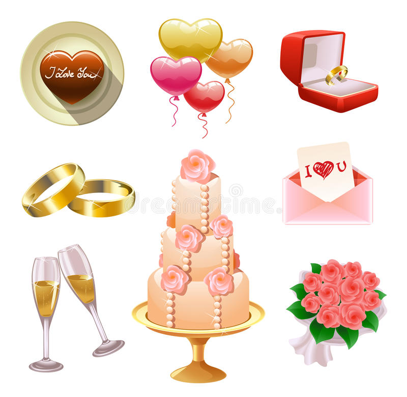 Download Wedding Set stock vector. Image of band, bridal, dating - 17649356