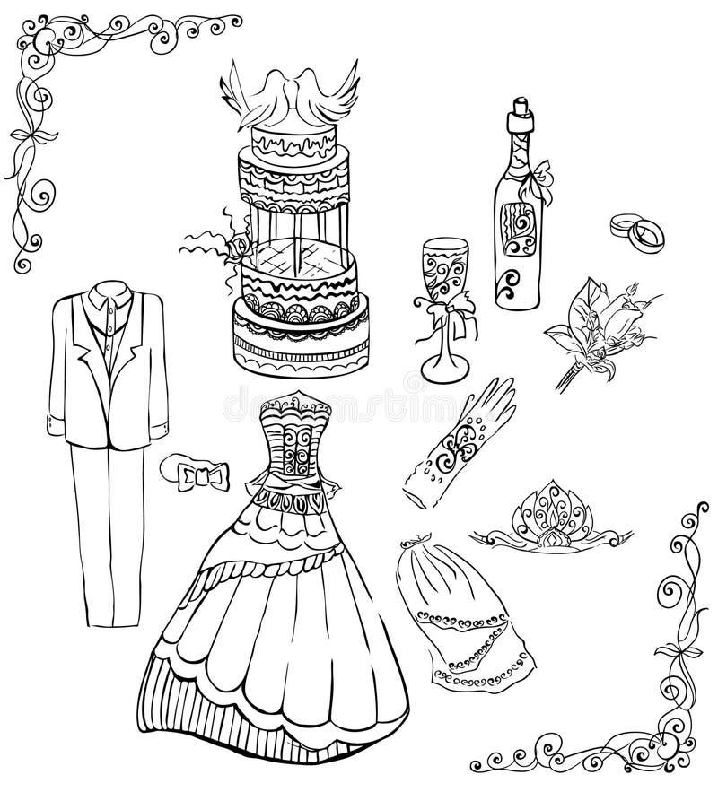 Wedding set. Monochrome vector set for the wedding theme vector illustration
