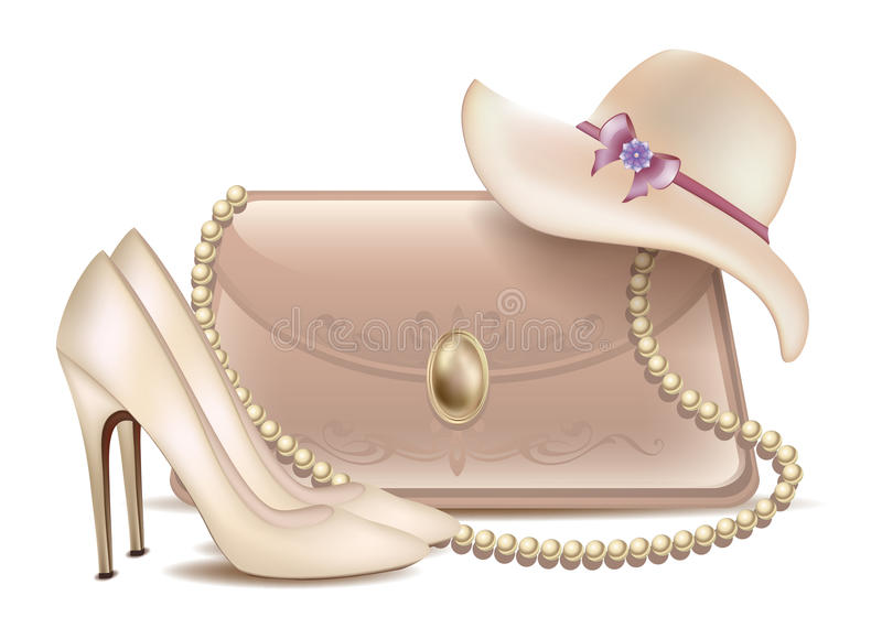 Wedding set Bride accessories Women's high-heeled shoes lady's beautiful lacquered handbag and a summer hat with bow. Wedding set Bride accessories Women's high stock illustration