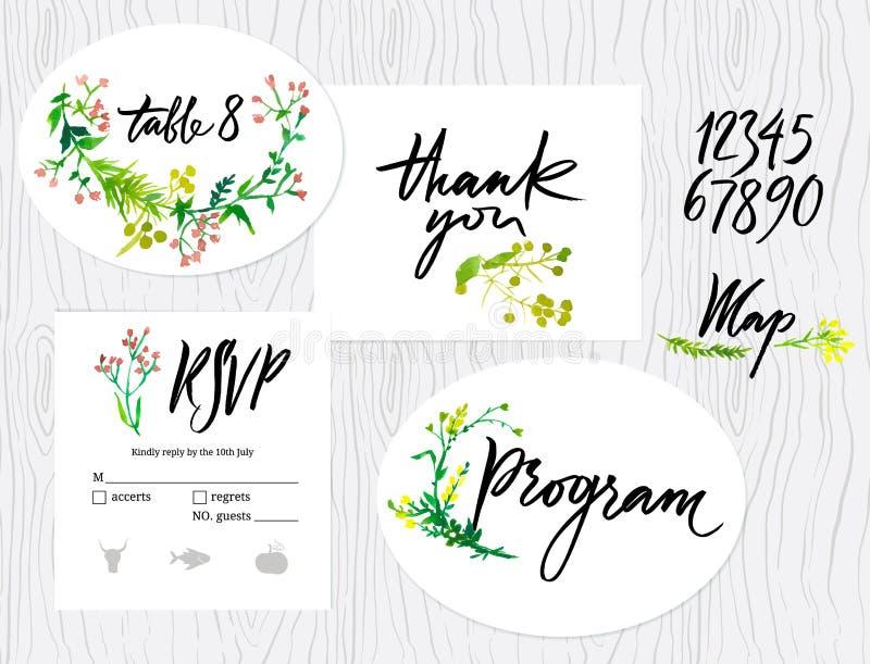 Wedding set of cards stock illustration
