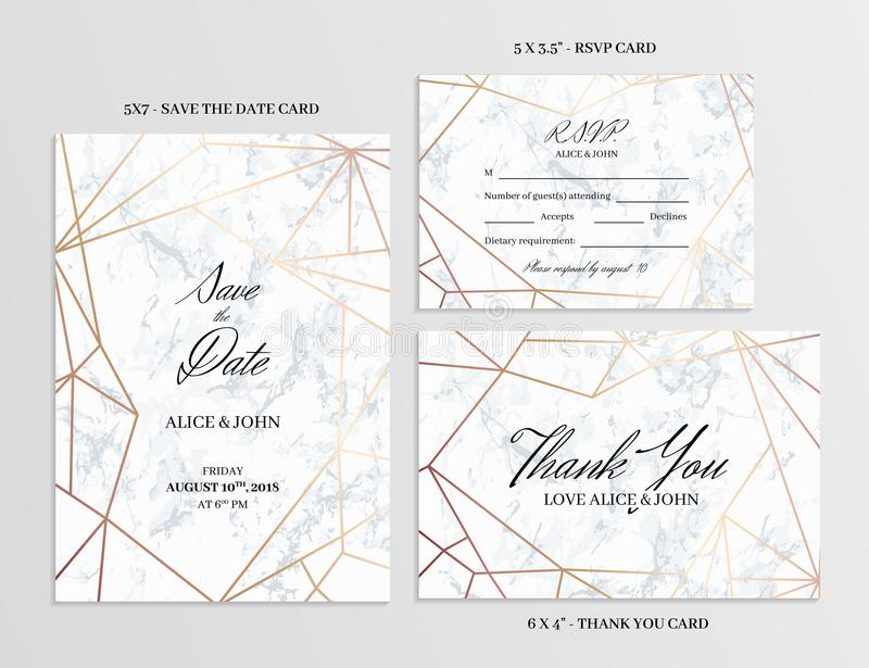 Wedding set. Cards template of geometric design stock illustration