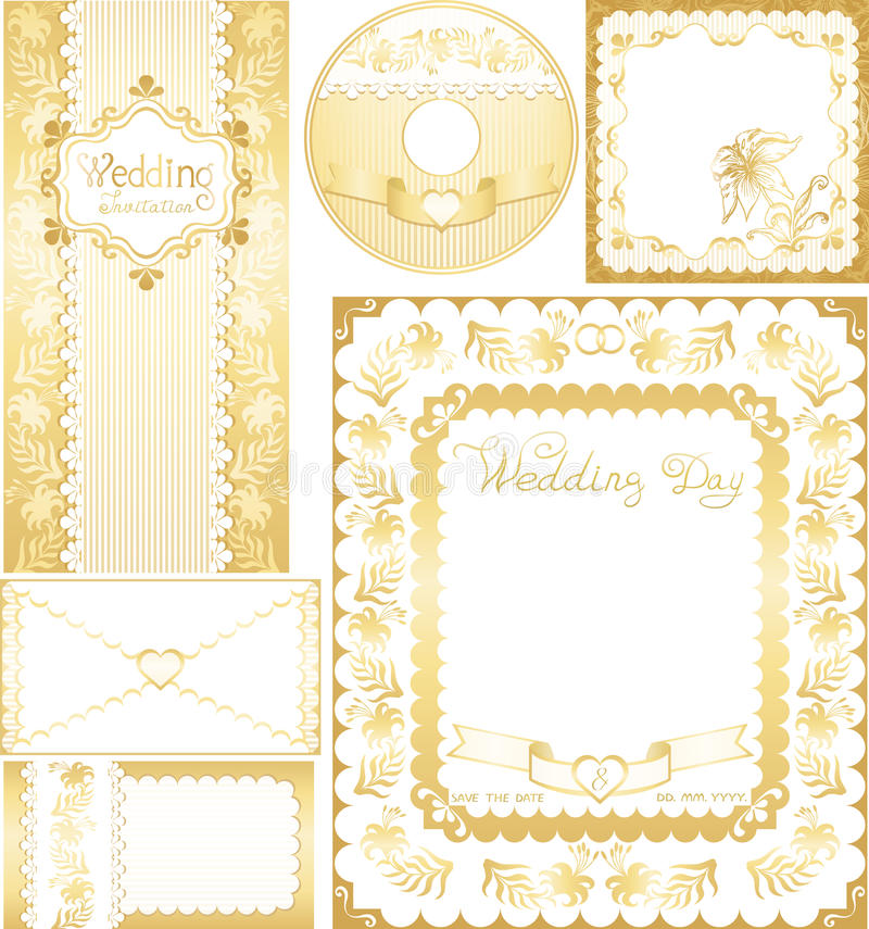 Wedding set. Golden backgrounds with lilies flower vector illustration