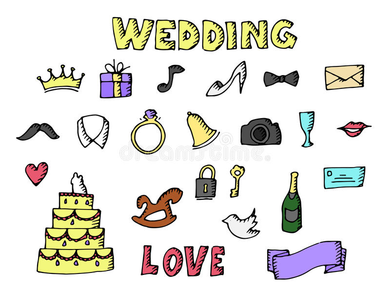 Wedding set illustration stock illustration