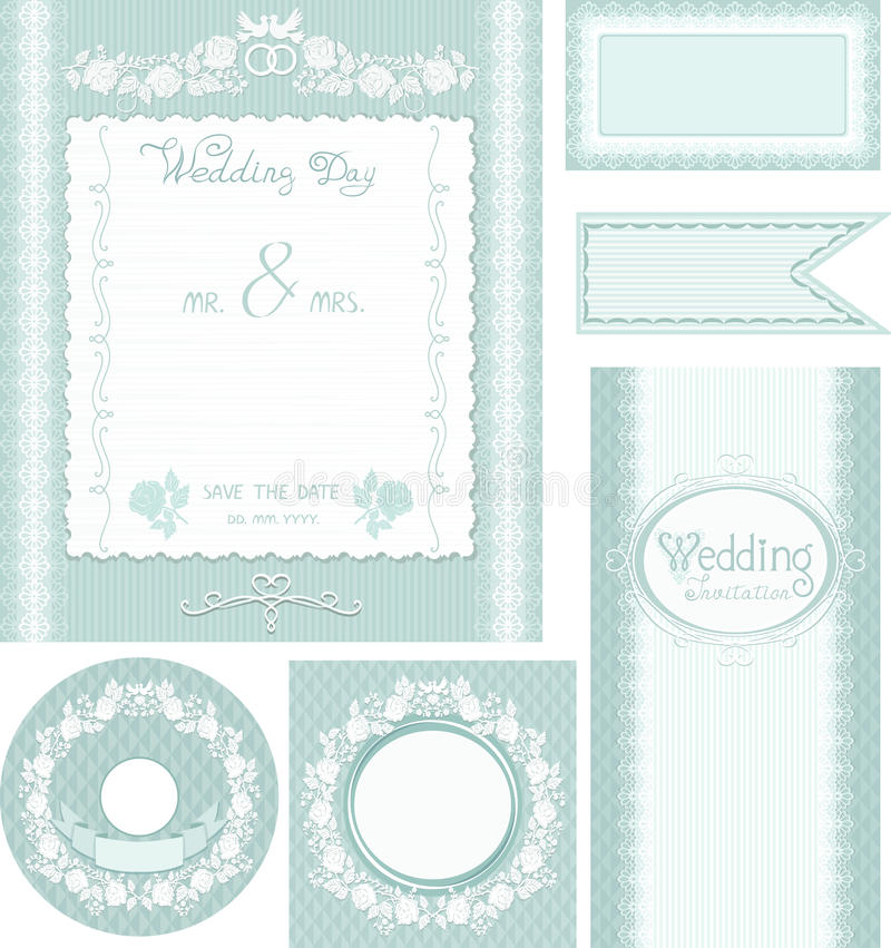 Wedding set. Turquoise background with roses royalty free illustration