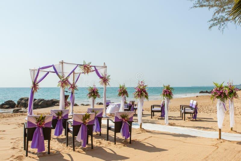 Wedding set up on the beach. stock photo