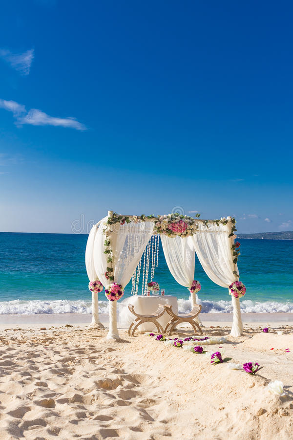 Wedding set up, tropical outdoor wedding reception, beauti. Beach wedding set up, tropical outdoor wedding reception, beautiful cabana, wedding arch stock image