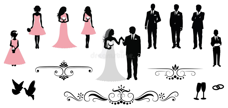 Wedding. Set of vector wedding silhouettes