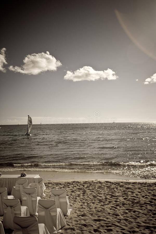 Wedding setup on the beach in the Domincan Republi stock photo