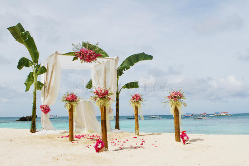 Download Wedding Setup And Flowers On Tropical Beach Background Stock Photo - Image: 31112564