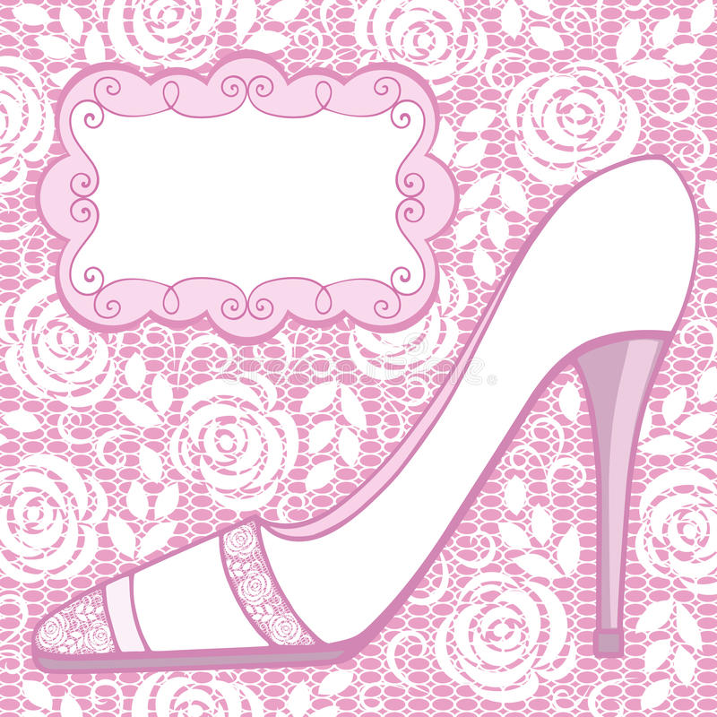 Wedding shoe. Greeting card. royalty free illustration