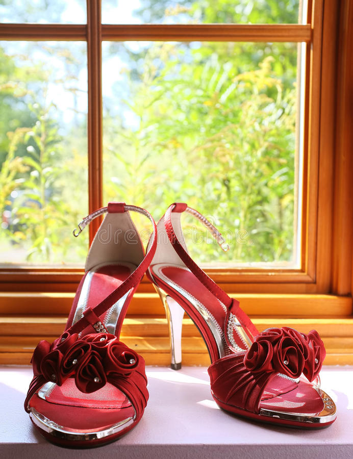 Wedding shoes. And windows stock photo