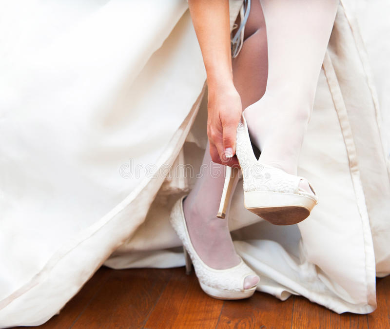 Download Wedding Shoes stock photo. Image of foot, wooden, white - 27198934