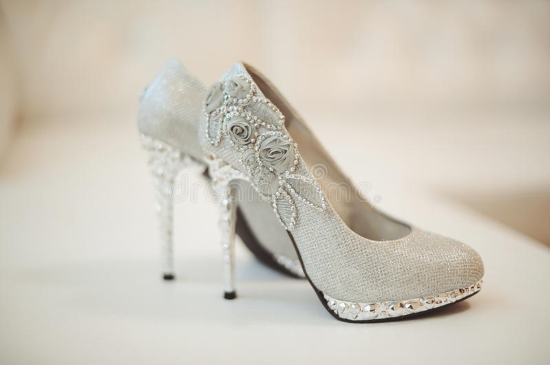 Download Wedding shoes of the bride stock image. Image of evening - 39512663