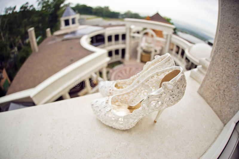 Download Wedding Shoes Cream Color Stock Photo