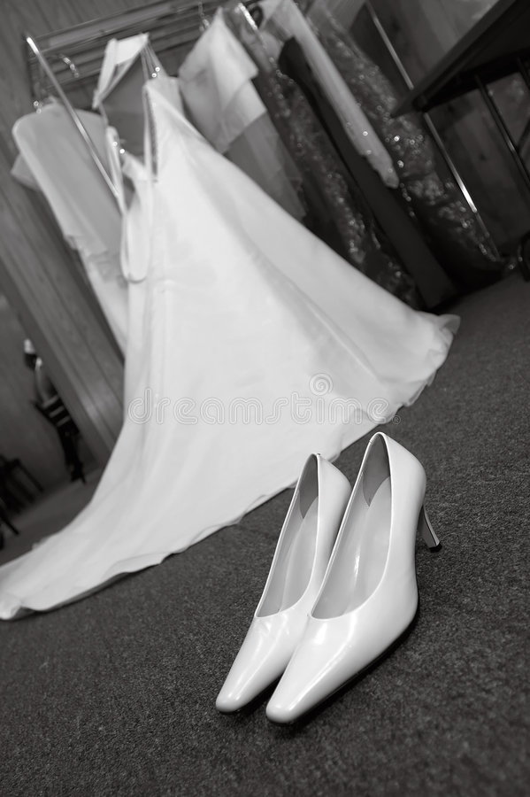 Wedding Shoes and Dress (black and white) royalty free stock photos