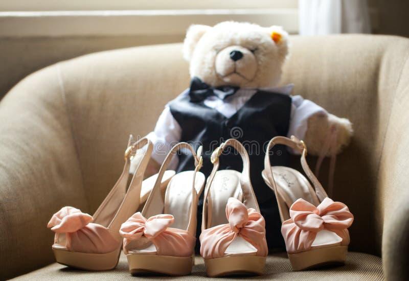 Wedding Shoes High Heels stuffed bear. High heel luxury wedding shoes stuffed bear stock photo
