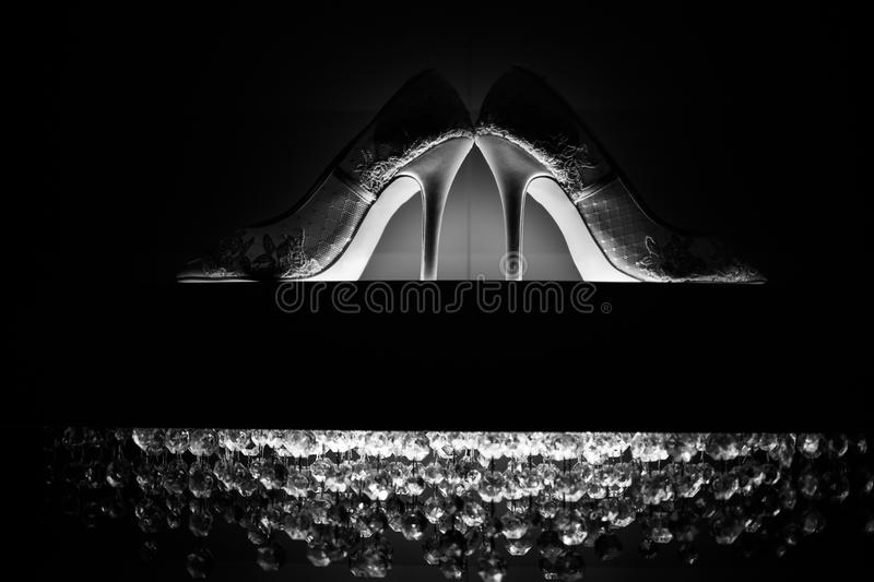 Wedding shoes on the luster royalty free stock photography