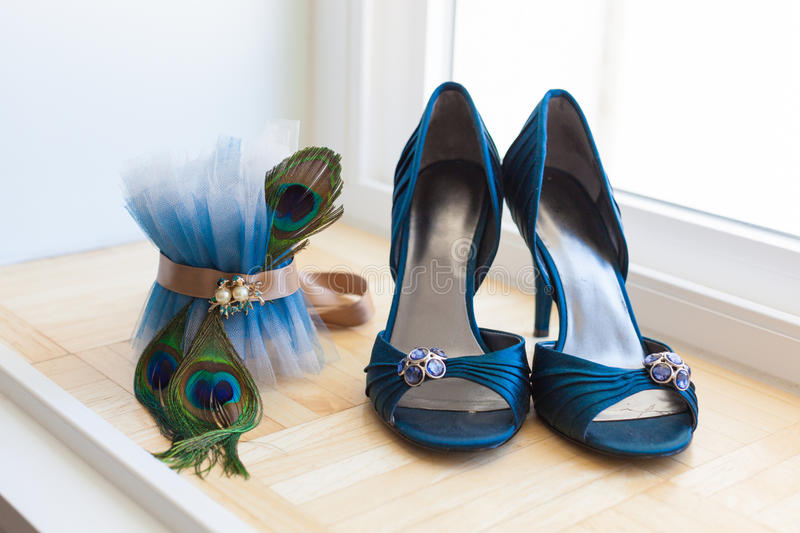 Wedding Shoes and Peacock Garter stock image